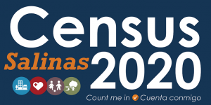 2020 Census Salinas Action Team logo with guiding principle icons representing housing, sustainability, health, and youth