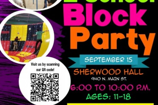 Flyer for Block Party - kids playing, climbing, url code, Salinas City logo