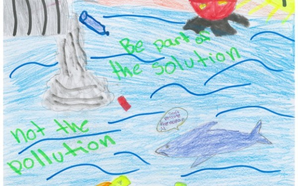 5th Grade Art Contest Winner, Be Part of the Solution NOT the Pollution by Maya