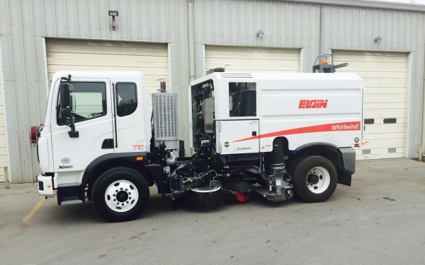 New white streetsweeper