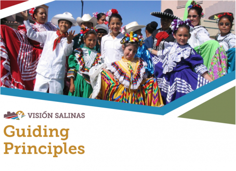Guiding Principles Document Cover Page with folklorico dancers in Salinas