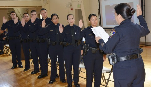 Chief Fresé reading oath to 7 new Salinas Police Officers