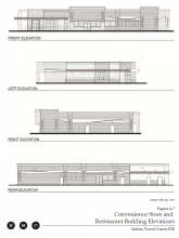 Elevation drawings of part of Travel Center buildings
