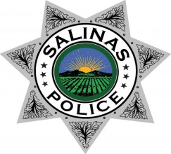 Salinas Police Badge, silver with color city logo inside