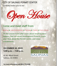open house flyer for permit center with holiday theme