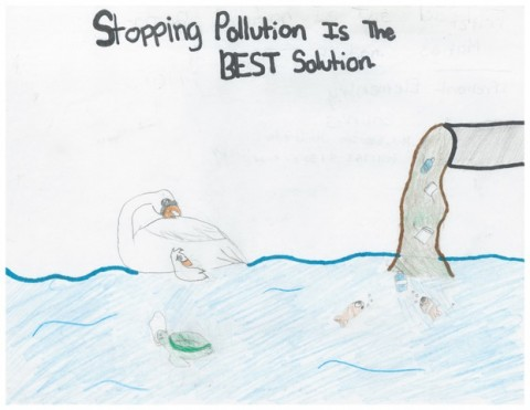 5th Grade Art Contest Winner, Stopping Pollution is the BEST Solution by Fritzi