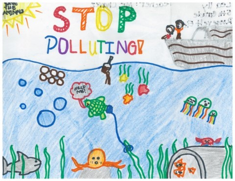 5th Grade Art Contest Winner, Stop Polluting by Lea