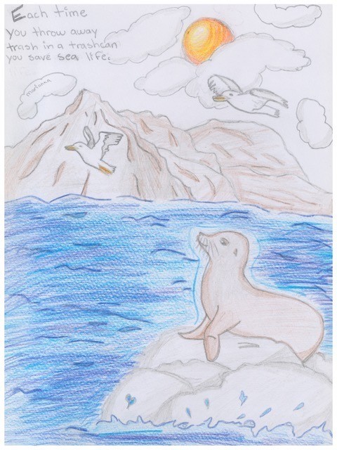 5th Grade Art Contest Winner, Throw Away Trash, Save Sea Life by Marianna