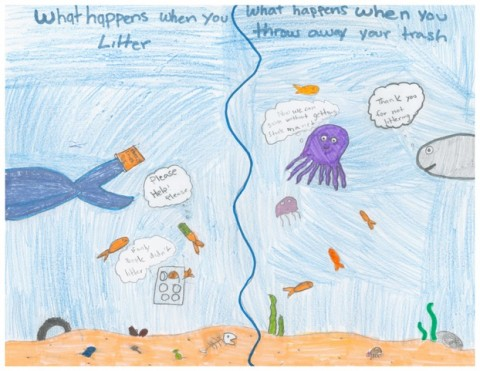 5th Grade Art Contest Winner, What Happens When You Litter? by Precious