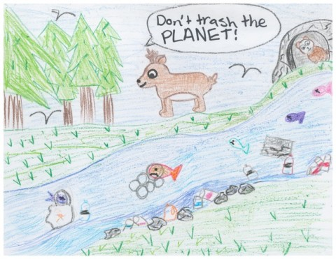 5th Grade Art Contest Winner, Don't Trash the Planet by Victoria
