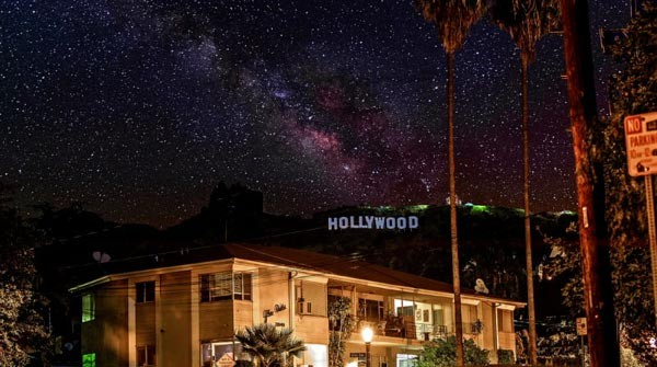 Artist representation of a starry sky over Los Angeles